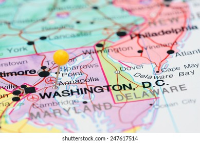 Annapolis pinned on a map of USA