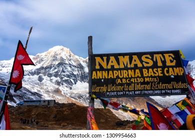 ANNAPURNA BASE CAMP, NEPAL - DEC 5, 2018: ABC or Annapurna Base Camp is a tourist destination among highest Himalaya peaks like Annapurna or Fish Tail (Machapuchare)