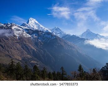 Annapurna Conservation Area, Nepal - circa April 2019: view of Annapurna range from Dobato