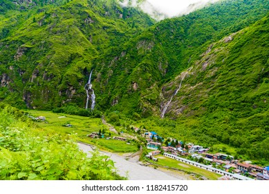 Annapurna Conservation Area, Nepal - July 18, 2018 : View over Marsyangdi river and Tal village on Annapurna circuit, a hotspot destination for mountaineers and Nepal's largest protected area.