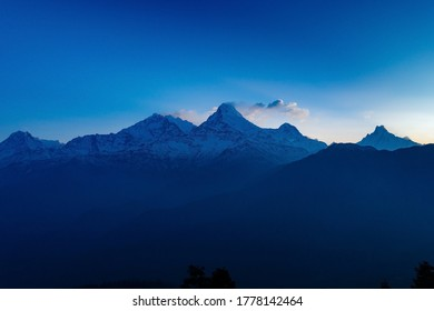 Annapurna and Holy Fishtail Snow Mountain and Morning Light in the Himalayas in North-central Nepal
