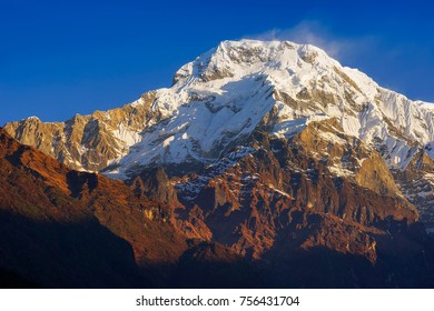 Annapurna I, or Main,  mountain view from famous Poon Hill viewpoint with blue sky background in the morning, on sunrise. Nepal landscape, Annapurna circuit, Himalaya Range, Asia. Horizontal view
