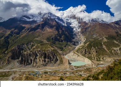 Annapurna Looms Over the Tiny Village of Manang in the Nepal Himalaya