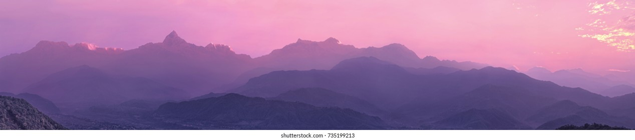 Annapurna mountain range, Himalayas, central Nepal.