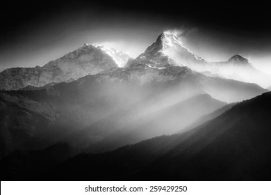 Annapurna mountains in sunrise light