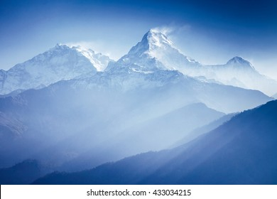 Annapurna mountains in sunrise light