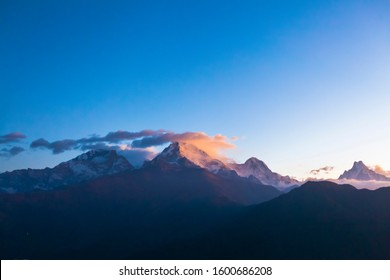 Annapurna mountains view from Poon Hill viewpoint, Nepal