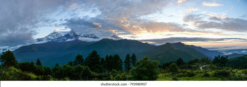 Annapurna range from Poon Hill - one of the most visited Himalayan view points in Nepal, view to snow capped Himalaya during sunrise