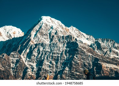 Annapurna snowcapped peak in the Himalaya mountains, Nepal