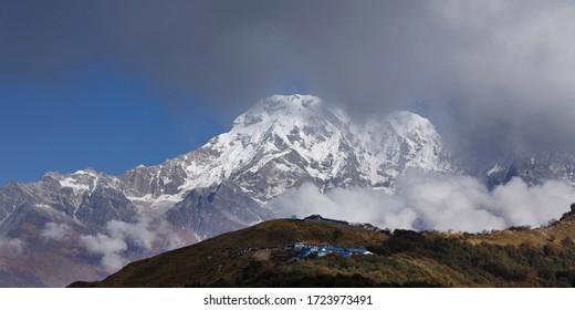 Annapurna South with Badal village from near of lower Badal Danda - Mardi Trek.