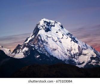 Annapurna South peak, also called Annapurna Dakshin or Moditse. View from Poon Hill on Annapurna Circuit Trek in the Nepal Himalaya.