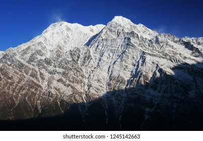 Annapurna South. View point from Mardi Himal base camp track.One of the majestic mountains in the Annapurna mountain range in Nepal
