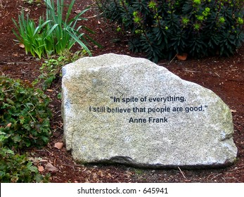 Anne Frank Quote Stone Carving at Seattle Center