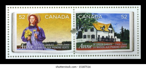 """Anne of Green Gables stamps put out by Canada Post to commemorate the 100th Anniversary of the publication of the book """"Anne of Green Gables"""" written by Prince Edward Island author L. M. Montgomery"""