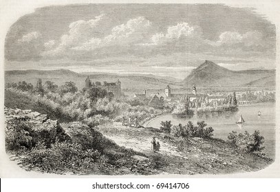 Annecy, the Alpine town in France on the shore of the lake bearing the same name. From drawing of Freeman after lithography by Cabaud, published on L'Illustration, Journal Universel, Paris, 1860