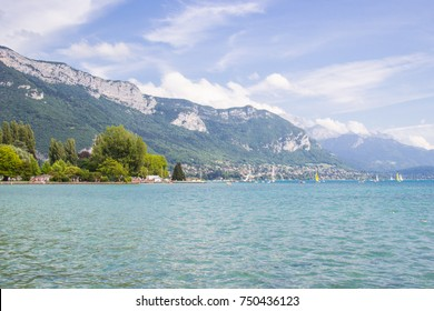 Annecy, beautiful city in France, lake in the city is surrounded by mountains