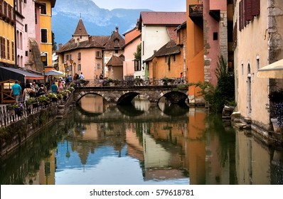 Annecy is called touristically the Venice of Savoie. The medieval town center built around a 14th Century Chateau is dissected by small canals and streams running out of Lac Annecy.