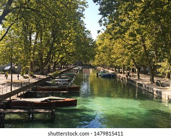 Annecy city and canals in southeastern France