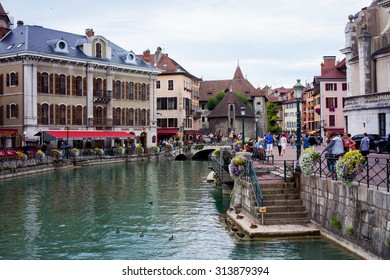 ANNECY, FRANCE, 23 AUGUST 2015 - Palais de l'isle, beautiful town square. Annecy is known to be called the French Venice
