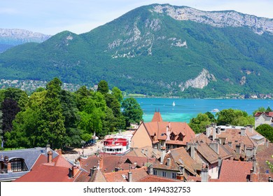 ANNECY, FRANCE -24 JUN 2019- View of rooftops over Old Annecy seen from the Annecy castle in Annecy, Haute Savoie, France.