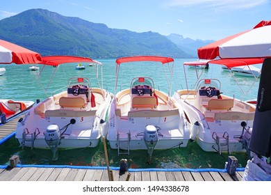 ANNECY, FRANCE -24 JUN 2019- Boats for rent along the promenade on Lake Annecy in Annecy, Haute Savoie, France.