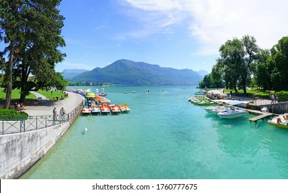 ANNECY, FRANCE -24 JUN 2019- View of the Canal du vase (Vasse water canal) by the Pont des Amours (love bridge) in the Old Town in Annecy, Haute Savoie, France.