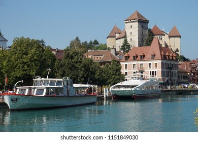ANNECY, FRANCE - AUGUST 02, 2018: boats for tousists, vacation, lifestyle