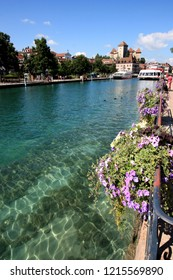 Annecy, France - August 10th 2013: Thiou river estuary with the Annecy castle in the background
