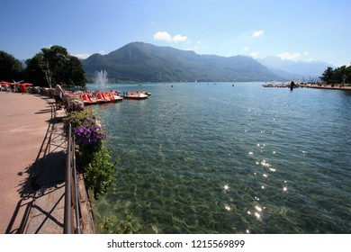 Annecy, France - August 10th 2013: Lake Annecy and the Thiou river estuary