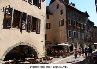 Annecy, France - August 10th 2013: Tourists exploring the lovely town of Annecy