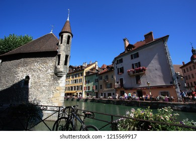 Annecy, France - August 10th 2013: The Palais de l'Isle and Thiou river in Annecy