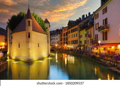 Annecy, France, - August, 20, 2020: Palais de l'Isle, popular landmark in Annecy, the capital of Savoy, called Venice of the Alps, France