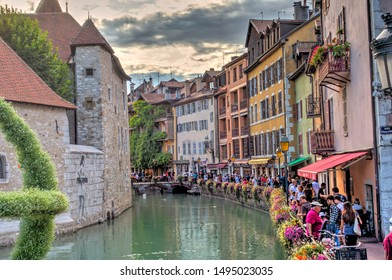 Annecy, France - August 2019 : Historical center in summertime, HDR image
