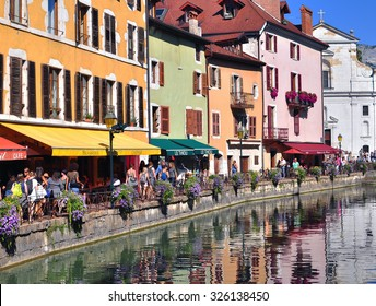 ANNECY, FRANCE - AUGUST 22, 2015: View of the street in city centre of Annecy on August 22, 2015. Chamonix is a capital of Haute Savoie province, France.