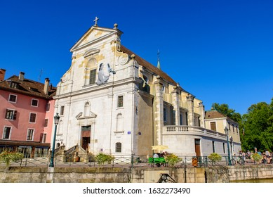 Annecy / France - August 26 2019: A church in the old city of Annecy, the largest city of Haute-Savoie department in France