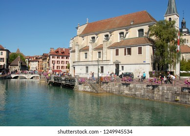 Annecy – France / August 27, 2015:Annecy is a mountain town in southeastern France that lies at the point where Lake Annecy meets the river Thiou. It is known for its Vieille Ville (historical center)