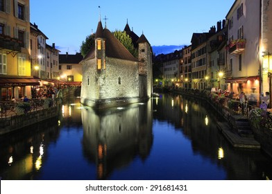 ANNECY, FRANCE - AUGUST 29, 2013: Twilight view of historic centre on August 29, 2013 in Annecy, France. It is one of the most visited alpine town in Mont Blanc region.