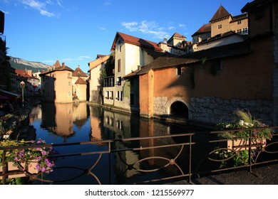 Annecy, France - August 9th 2013: Thiou river embanked through the lovely town of Annecy
