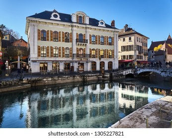 Annecy, France - December 07, 2018: View of Annecy from the Thiou river during a sunny day.