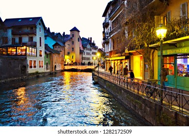 ANNECY, FRANCE - January 2016: The night veiw of the Annecy Castle of 12th century in Old Town in Annecy, France