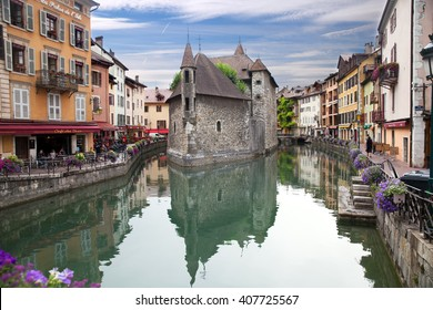 ANNECY, FRANCE - JUL 29, 2015: The Palais de l'Isle is a local history museum. The Palais de l'Ile was classified as a Historical Monument in 1900