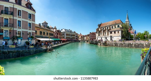 ANNECY, FRANCE - JULY 10, 2018, view of Annecy city with river