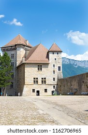 ANNECY, FRANCE - July 15, 2018: View of the castle in city centre of Annecy, capital of Haute Savoie province in France. Annecy is known to be called the French Venice