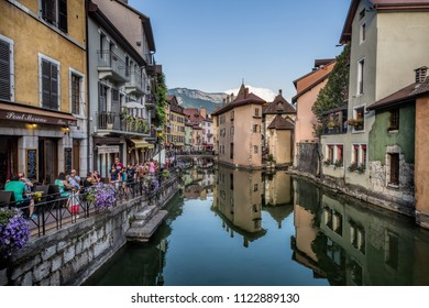 Annecy France July 17th 2015 : Tourists and restaurants in the beautiful town of Annecy
