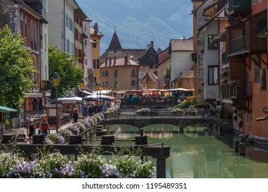 ANNECY / FRANCE - JULY 2015: View to the historic centre of Annecy town, France