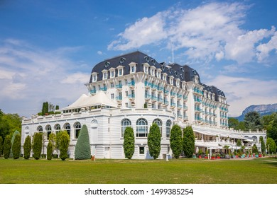 Annecy, France - July 2019 : The Imperial Palace is a four-star hotel located on the shores of Lake Annecy