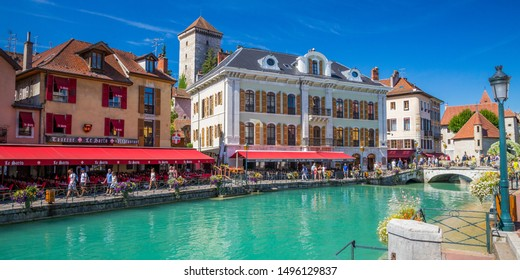 Annecy, France - July 2019 : View of Annecy  and the river Thiou one of the shortest rivers in France