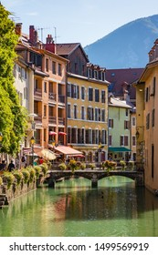 Annecy, France - July 2019 : View of the Old Town of Annecy  and the river Thiou one of the shortest rivers in France