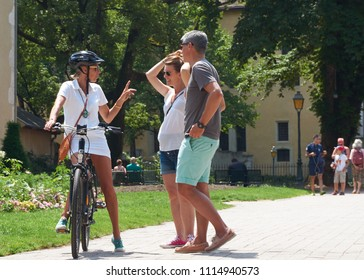 ANNECY, FRANCE - JUNE 16, 2018  : group riding a rental bike