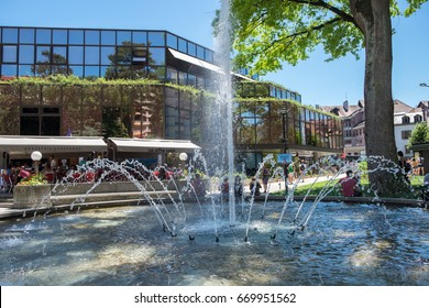 ANNECY, FRANCE - JUNE 17, 2017: Fountain near the shopping centre at Annecy, France